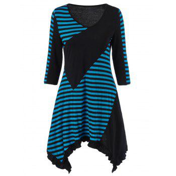 Stripe Block Flounce Long Asymmetric T-Shirt