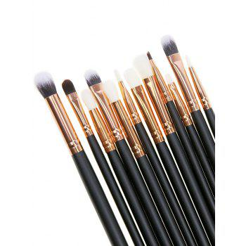 12 Pcs Makeup Eye Brush Set - BLACK BLACK