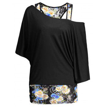 Dolman Sleeve Floral Plus Size Top