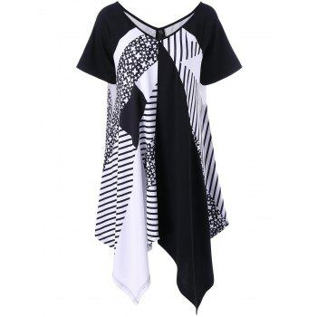 Striped Asymmetrical Plus Size T-Shirt