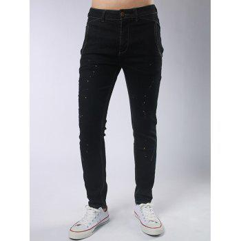 Zipper Fly Paint Splatter Jeans