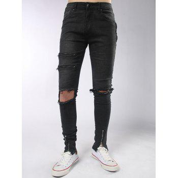 Zips Embellished Destroyed Jeans