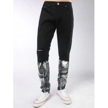 Zipper  Embellished Distressed Painted Jeans