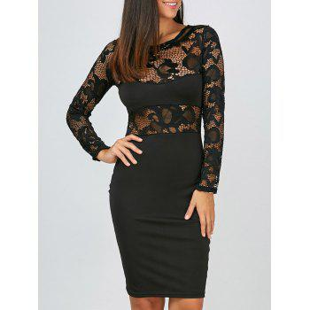 Long Sleeves Lace Panel Bodycon Club Dress