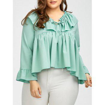 Plus Size Long Sleeve Ruffle Smock Blouse