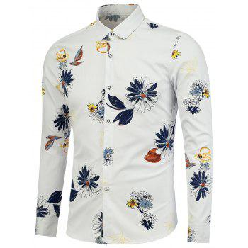 Turndown Collar Floral Pattern Shirt