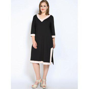 V Neck Side Slit Plus Size Dress - BLACK 4XL