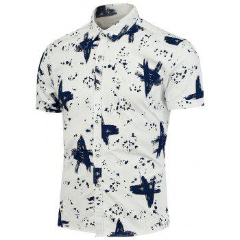 Buttoned Splashed Ink Pattern Shirt