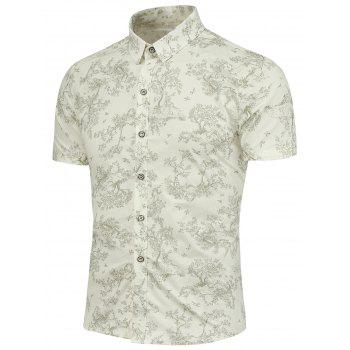 Short Sleeves Trees and Bird Pattern Shirt