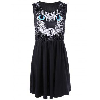 Cat Print Mini Dress