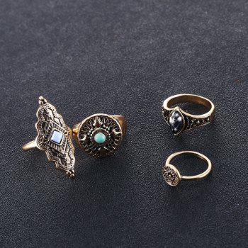 Faux Gem Turquoise Vintage Ring Set - Or ONE-SIZE