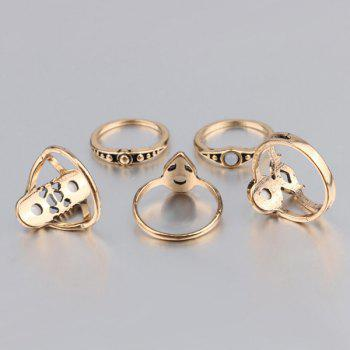 Artificial Cercle Gemstone Ring Set - Or ONE-SIZE
