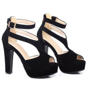 Buckle Strap Peep Toe Sandals