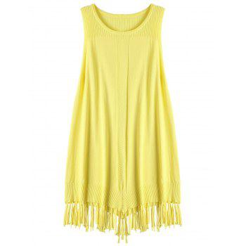 Fringed Ribbed Knit Tank Top