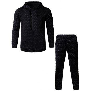 3D Geometric Emboss Hoodie and Pants Zip Up Twinset