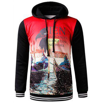 Hooded 3D Eagle Graphic Print Fleece Hoodie