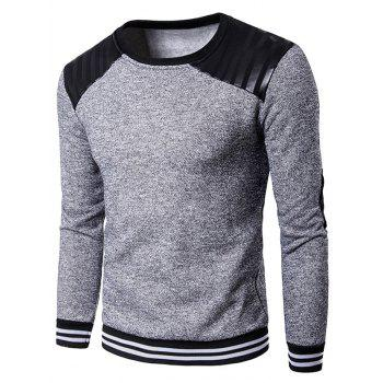 Elbow Patch PU Leather Panel Fleece Sweatshirt