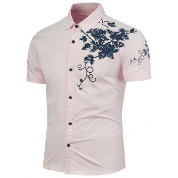 Rose Printing Short Sleeves Shirt