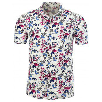 Stretchy Floral Printed Plus Size Shirt