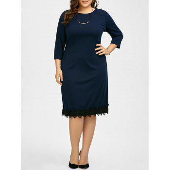 Plus Size Lace Panel Modest Dress