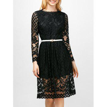 Belted Round Collar High Waist Lace Dress