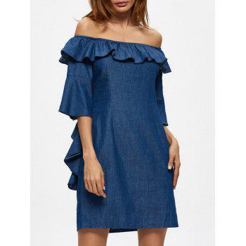 Off The Shoulder Flounced Mini Shift Dress