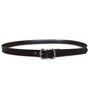 Pin Buckle Plain Leather Skinny Belt