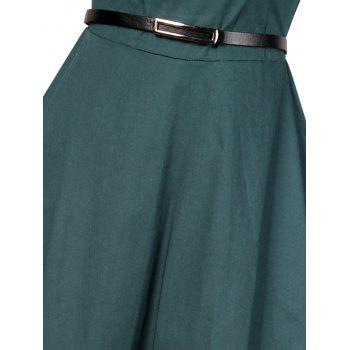 Vintage manches courtes Pin Up Dress - Vert S