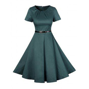 Vintage Short Sleeve Swing Skater Dress - GREEN XL