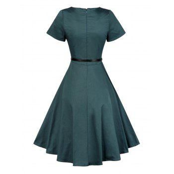 Vintage Short Sleeve Swing Skater Dress - XL XL