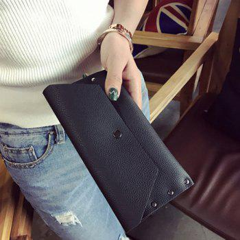 Flap Textured Clutch Wallet -  BLACK