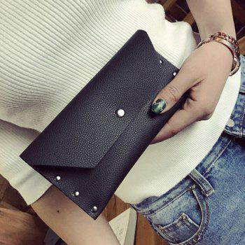 Flap Textured Clutch Wallet - BLACK BLACK