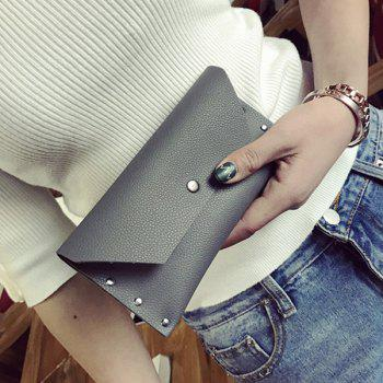 Flap Textured Clutch Wallet - GRAY GRAY