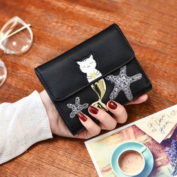 Tri Fold Sequin Starfish Small Wallet