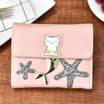 Tri Fold Sequin Starfish Small Wallet -  PINK