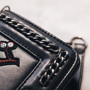 Embroidered Chains Cross Body Bag - BLACK