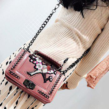 Embroidered Chains Cross Body Bag - PINK