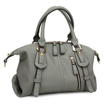 Faux Leather Straps Detail Tote Bag