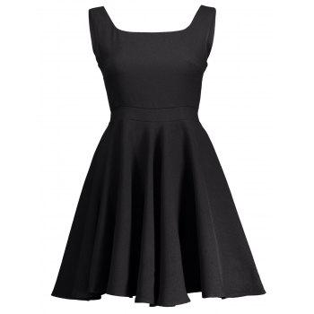 Square Neck High Waist Fit and Flare Dress - BLACK S