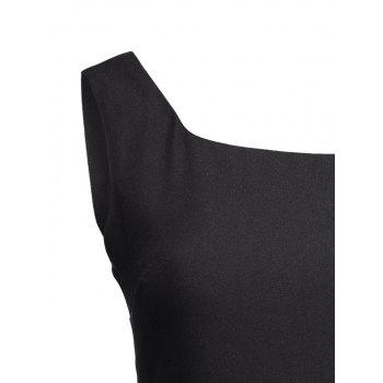 Square Neck High Waist Fit and Flare Dress - XL XL