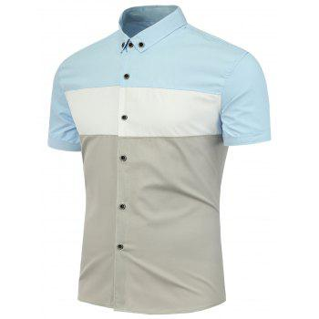 Color Block Button Down Short Sleeves Shirt