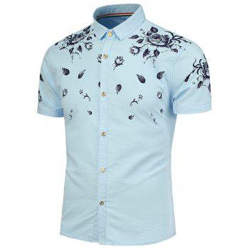 Floral Pattern Short Sleeves Shirt