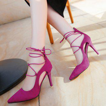 Lace Up Mini Heel Pumps - ROSE RED 38