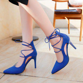 Lace Up Mini Heel Pumps - BLUE 39