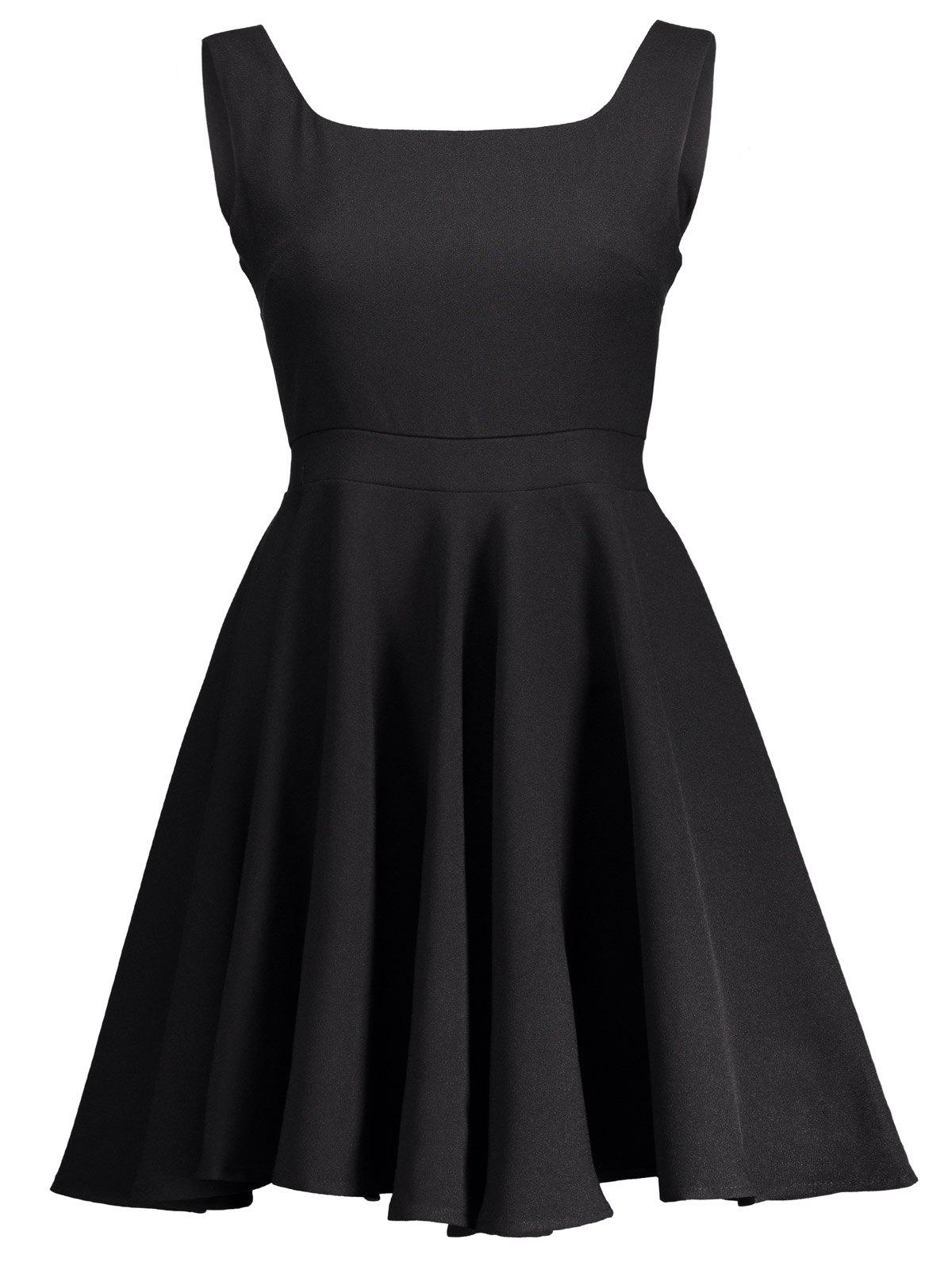 Square Neck High Waist Fit and Flare Dress - BLACK 2XL