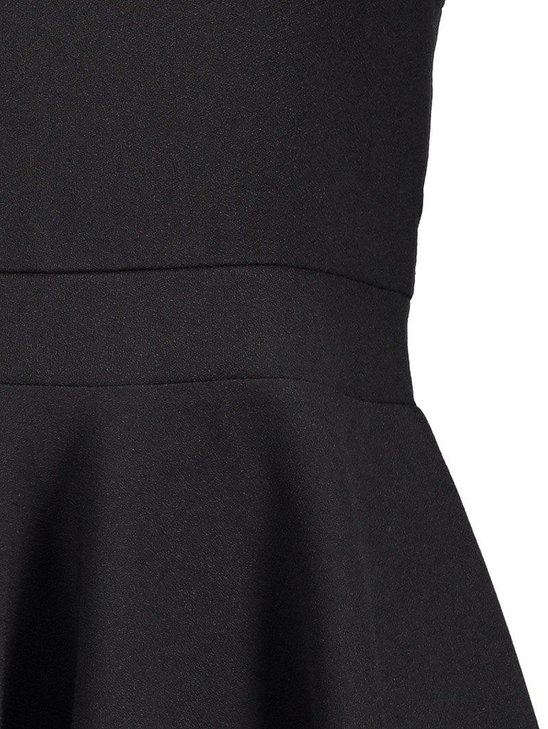Square Neck High Waist Fit and Flare Dress - BLACK XL