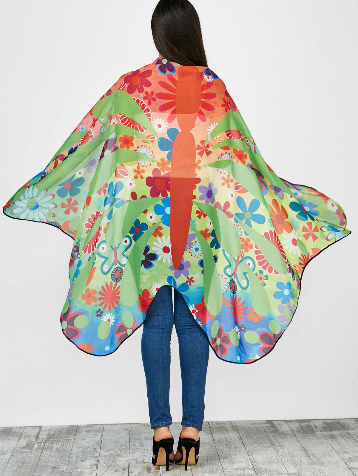 Colorful Flower Butterfly Wing Chiffon Pashmina with Straps butterfly wing chiffon pashmina with straps