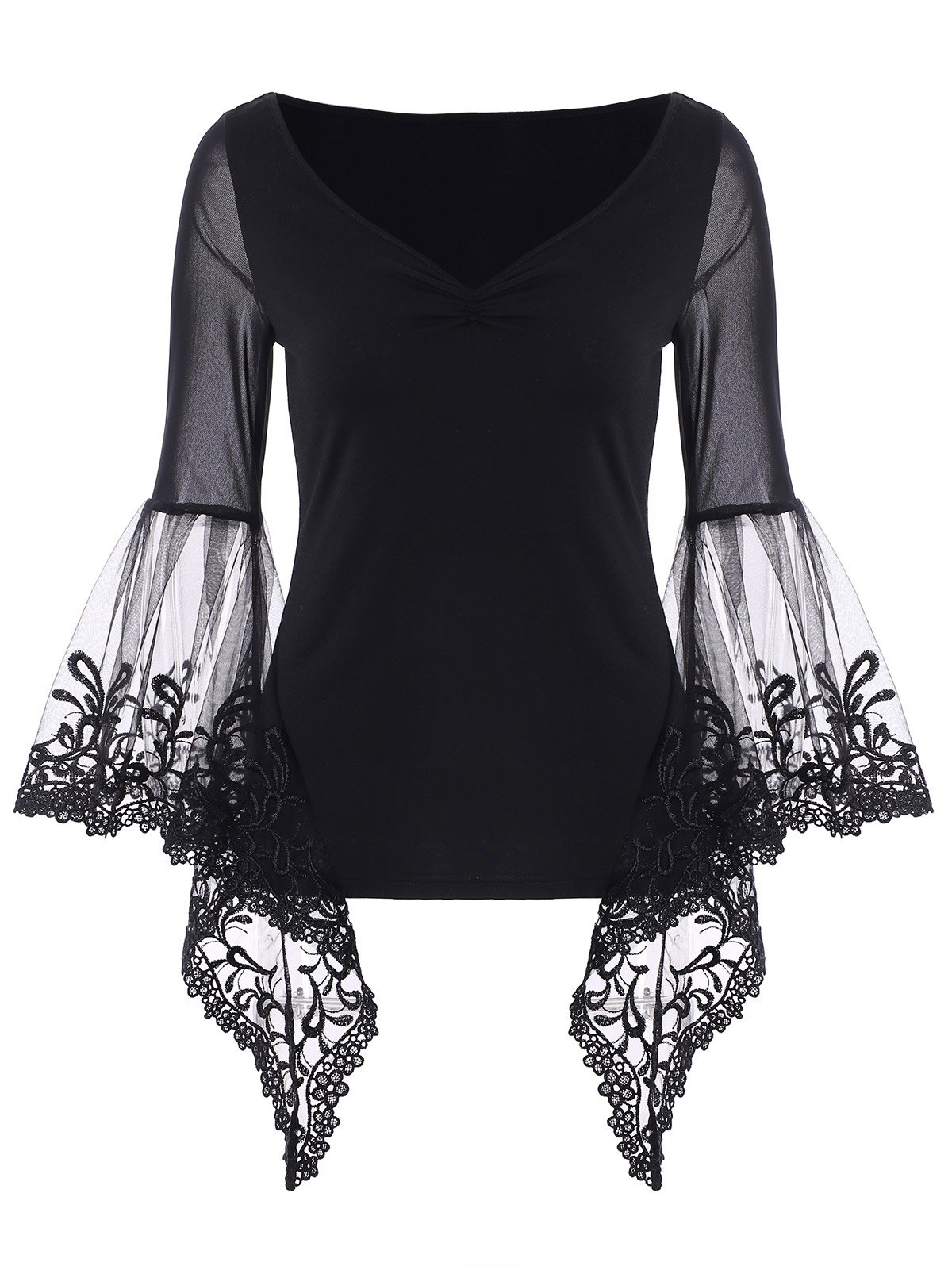 Bell Sleeve Sheer Lace Panel T-Shirt - BLACK 2XL