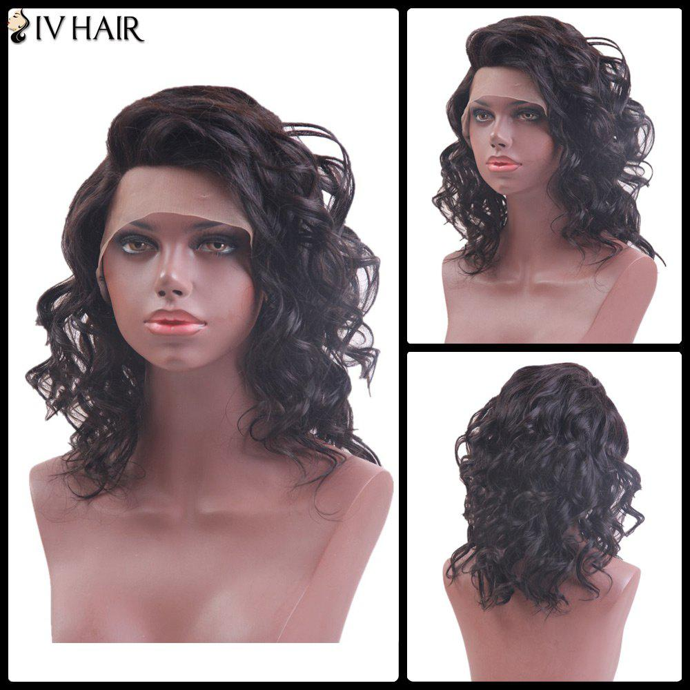 Siv Hair Medium Side Parting Curly Lace Front Human Hair Wig - NATURAL COLOR 16INCH