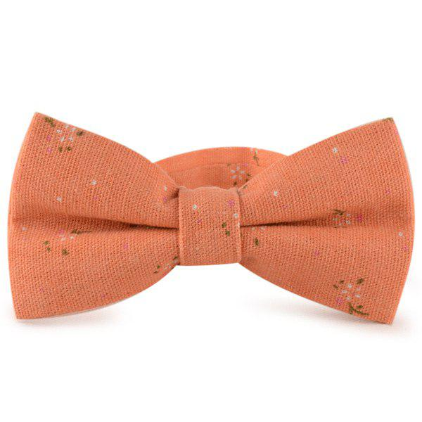 Tiny Floral Cotton and Linen Bow Tie - ORANGE RED